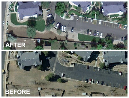 Xeriscape Renovation Before and After Aerial Photo