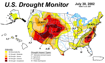 Drought Of Vs Drought Of Time To Rethink Landscaping - Us dought map 2002