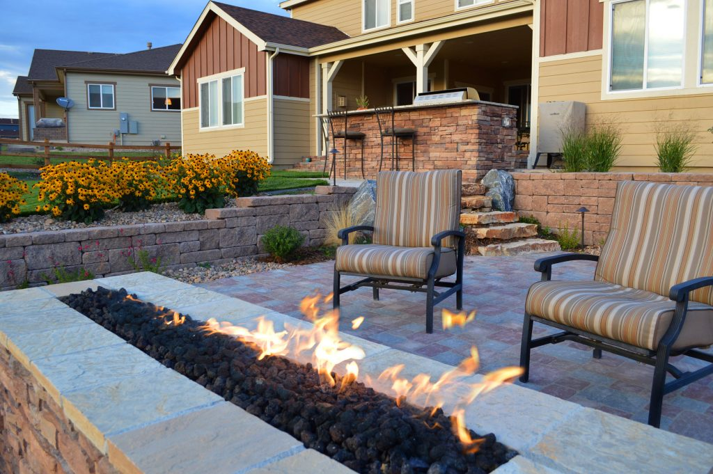 firepit patio and outdoor kitchen