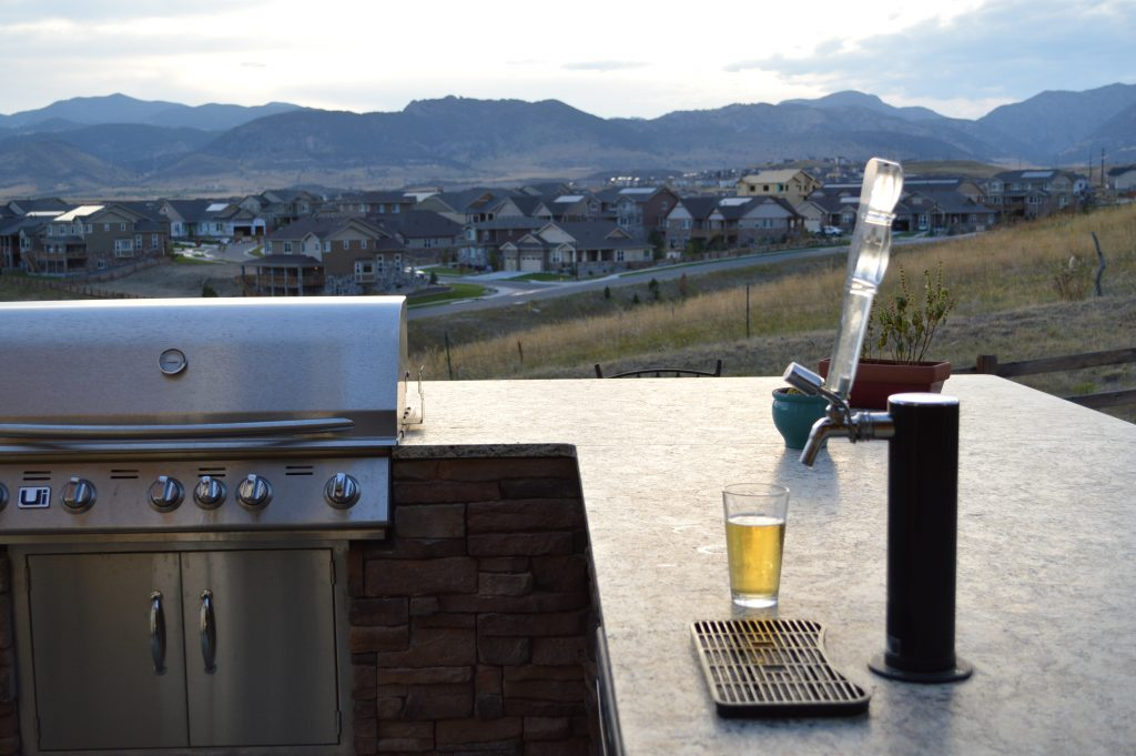 outdoor kitchen with mountain views